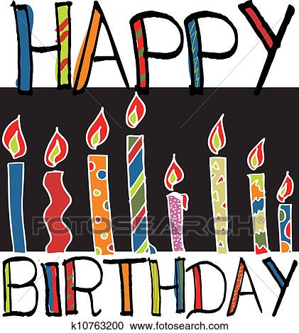 Clipart Of Happy Birthday Candles Vector Illustration K10763200