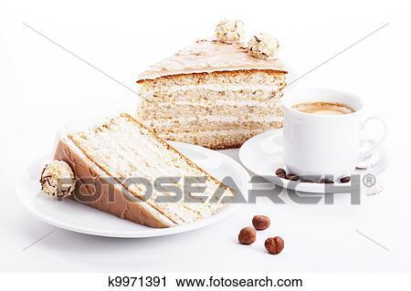 Stock Fotografie Haselnusskern Sahne Kuchen Mit A Tasse Kaffee