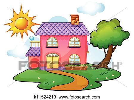 Clipart Haus K11524213 Suche Clip Art Illustration Wandbilder