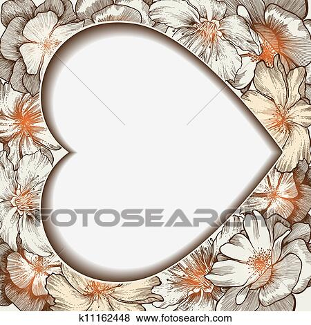 Clip Art of Heart frame with glamorous roses, hand-drawing. Vector ...