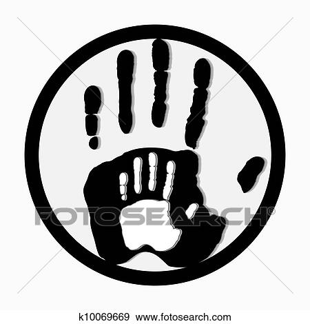 Clip Art Of Helping Hands Adult Care About Child Greeting Vector