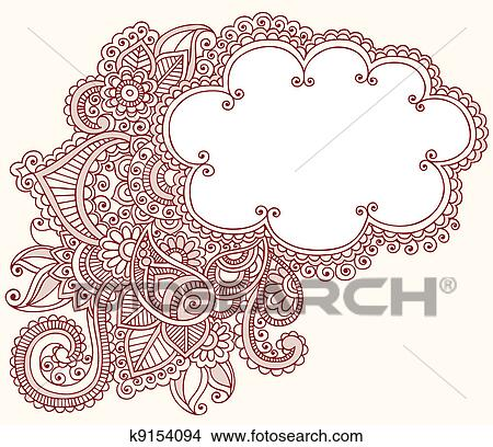 Clipart Of Henna Mehndi Tattoo Doodles Cloud K9154094 Search Clip