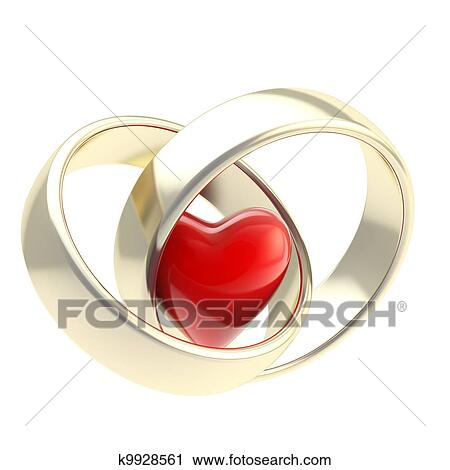 Clipart Herz Innenseite Goldene Hochzeit Ringe K9928561 Suche