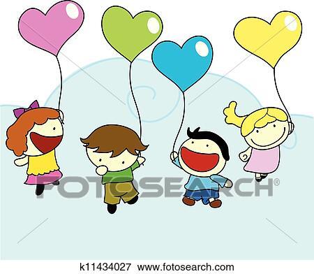 Clipart heureux enfants amour ballons k11434027 - Clipart amour ...