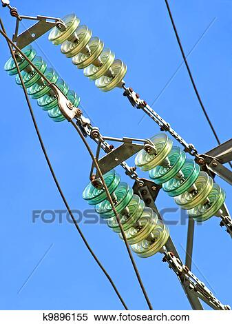 High voltage electrical insulator  Closeup  Stock Photography