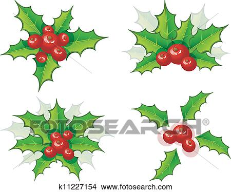Christmas Branch Vector.Holly Christmas Branch Set Clipart