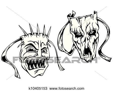 Clipart horreur masques k10405153 recherchez des clip - Dessin horreur ...