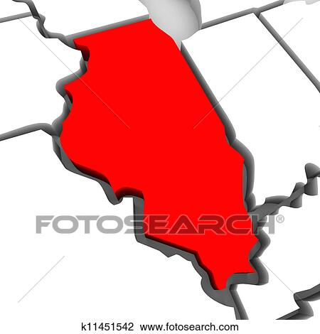 Clip Art Of Illinois Red Abstract 3d State Map United States America