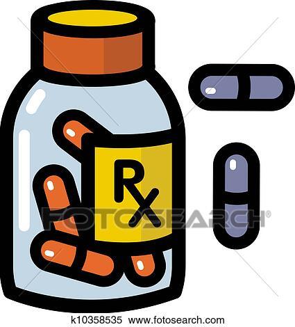 stock illustration of illustration of prescription drugs k10358535 rh fotosearch com Doctor Perscription Clip Art Hospital Patient Clip Art