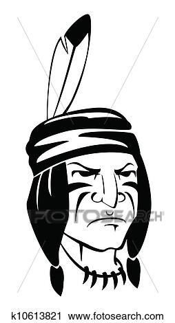 clipart of indian apache k10613821 search clip art illustration rh fotosearch com indian headdress clipart indian head clip art free