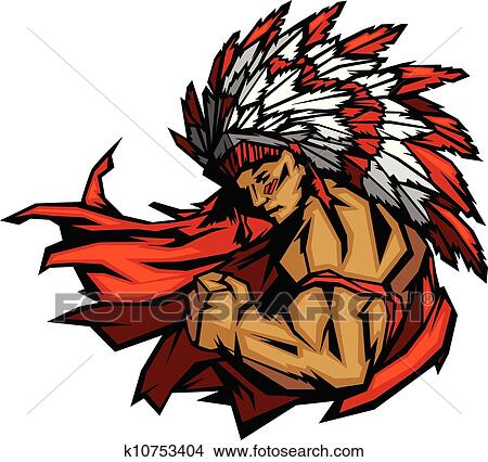clipart of indian chief mascot flexing arm vector graphic Indian Chief Skull Logo Indian Warrior Logo