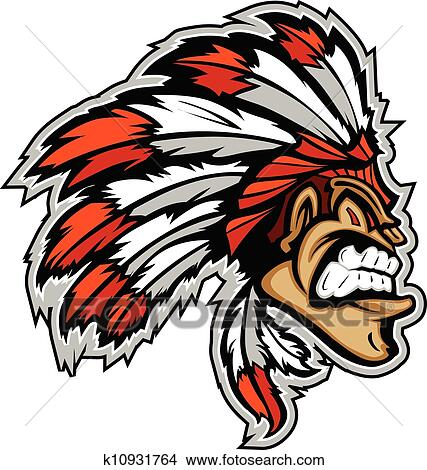 clipart of indian chief mascot head vector cartoon k10931764 rh fotosearch com indian head clipart vector indian head clipart vector