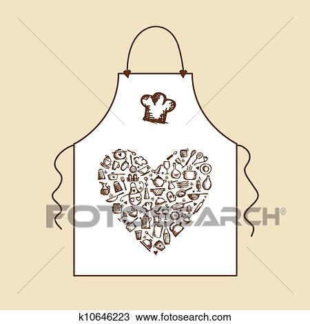 Clipart - io, amore, cooking!, grembiule, con, utensili cucina ...