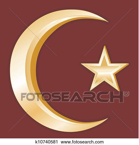 Clipart Of Islam Symbol K10740581 Search Clip Art Illustration