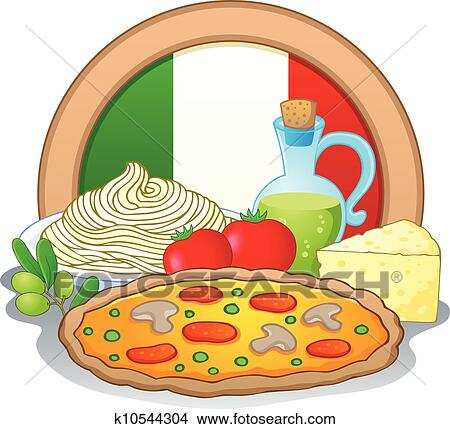 clipart of italian food theme image 1 k10544304 search clip art rh fotosearch com italian cuisine clipart Italian Food Cartoon