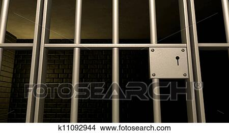 A closeup of the lock of a brick jail cell with iron bars and a door with a locking mechanism & Drawings of Jail Cell Door Locked Front k11092944 - Search Clip Art ...