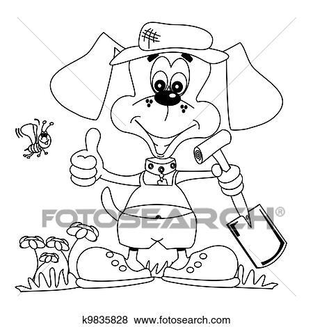 Clip Art - jardinería, perro, libro del colorante k9835828 - Buscar ...