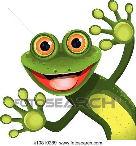 Clipart joyeux grenouille verte k10810389 recherchez des cliparts des illustrations des - Dessin de grenouille verte ...