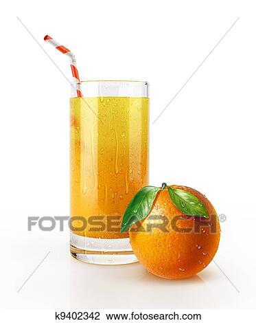 Jus Orange Verre à Paille Et A Fruit Sur Les Floor Dessin