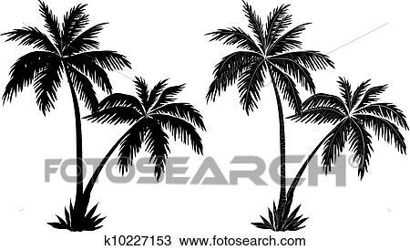 Clipart palmiers noir silhouettes k10227153 - Palmier dessin ...
