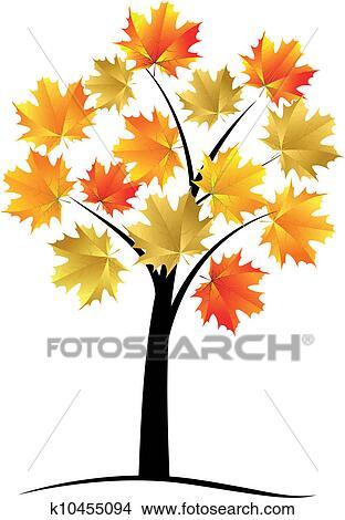 Clipart arbre rable feuille automne k10455094 recherchez des clip arts des illustrations - Feuille erable dessin ...