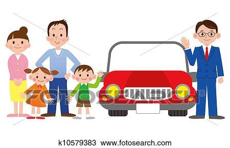 dessin famille a vendeur voiture k10579383 recherchez des cliparts des illustrations. Black Bedroom Furniture Sets. Home Design Ideas