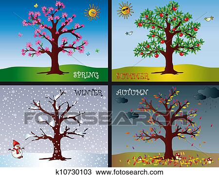 Dessin quatre saisons k10730103 recherchez des cliparts des illustrations et des images - Dessin 4 saisons ...