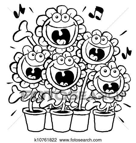 Clipart chant daisies ol k10761822 recherchez des - Chorale dessin ...