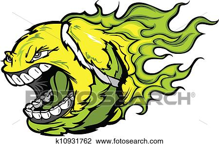 clipart of tennis ball screaming face with flames vector image