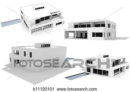 Clipart 3d modernes haus freigestellt wei k11120101 for Modernes haus zeichnung