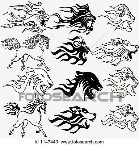 clipart ensemble de graphique tatouages firehorse lion loup et panth re k11147449. Black Bedroom Furniture Sets. Home Design Ideas