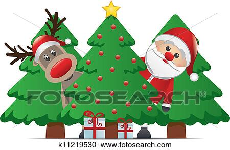 clipart rentier weihnachtsmann weihnachtsbaum. Black Bedroom Furniture Sets. Home Design Ideas