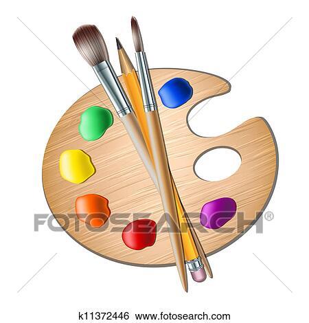 Clipart art palette pinceau pour dessin k11372446 - Palette a dessin ...