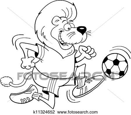 Karikatur Fussball Lowe Black Und Bisschen Clipart