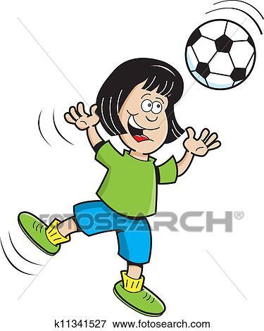 Karikatur Fussball Madchen Springende Clip Art