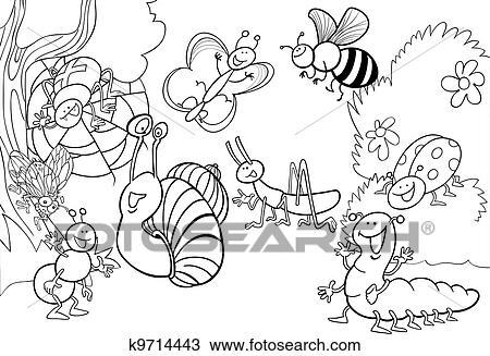 Karikatur Insekten Auf Dass Wiese Für Färbung Clipart