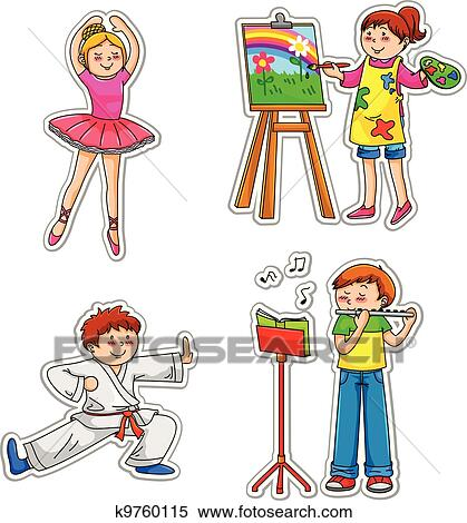 Kids With Hobbies Clipart K9760115 Fotosearch