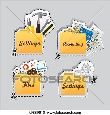 Labels Of Different Types Of Icons Clipart K9889610 Fotosearch