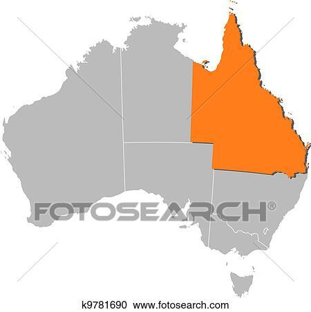 Landkarte Von Australia Queensland Hervorgehoben Clipart