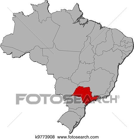 Landkarte Von Brasilien Sao Paulo Hervorgehoben Clip Art