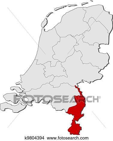 Niederlande Karte Umriss.Landkarte Von Niederlande Limburg Hervorgehoben Clipart