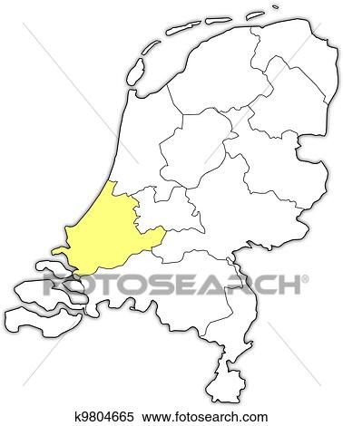 Niederlande Karte Umriss.Landkarte Von Niederlande Süd Holland Hervorgehoben Clipart