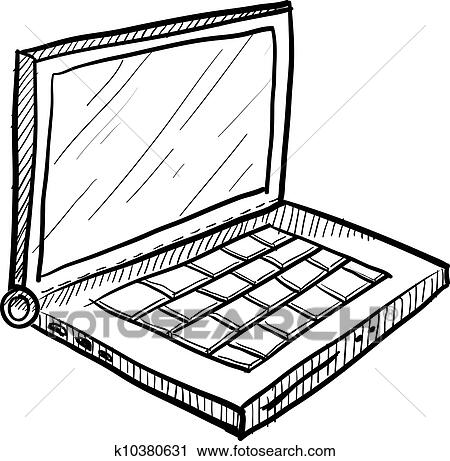 Laptop vector sketch Clipart