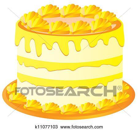 Clipart Of Lemon Cake K11077103 Search Clip Art Illustration