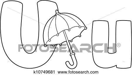 Clipart Of Letter U Umbrella Outlined K10749681 Search Clip Art