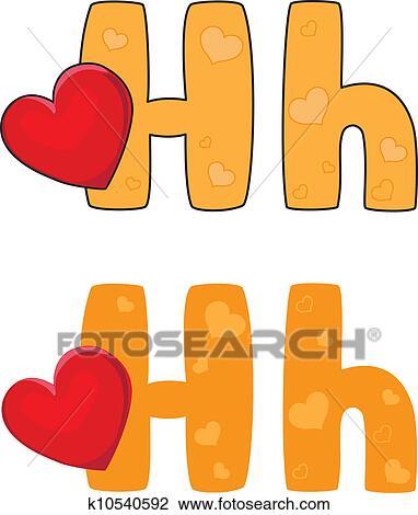 Lettre h, coeur Clipart | k10540592 | Fotosearch
