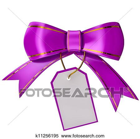 lilac christmas bow with label on white background