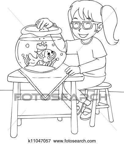 Clip Art - mädchen, mit, goldfisch, färbung, seite k11047057 - Suche ...