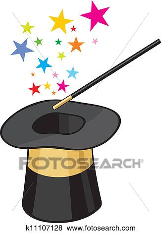 Clip Art - magic hat. Fotosearch - Search Clipart, Illustration Posters, Drawings, and EPS Vector Graphics Images