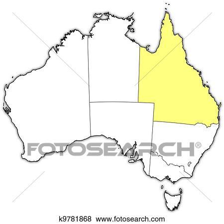 Map Of Australia Highlighting Queensland.Map Of Australia Queensland Highlighted Clip Art